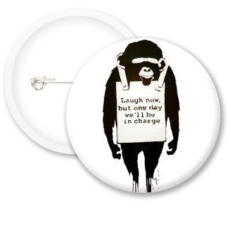 Banksy Laugh Now Button Badges