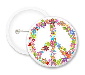Flower Peace Button Badges