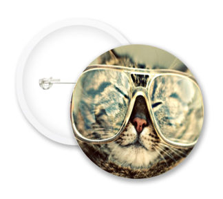 Cat With Glasses Button Badges