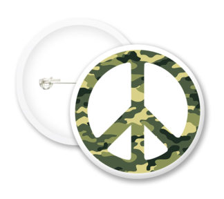 Army Peace Symbol Button Badges