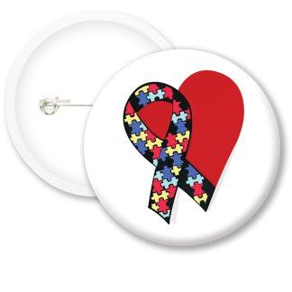 Autism Awarness Heart Button Badges