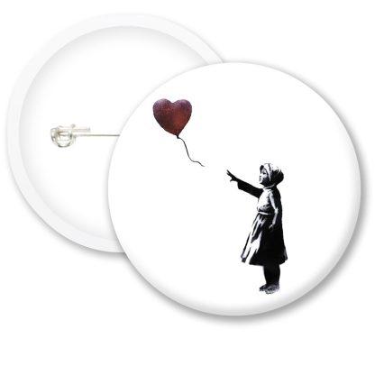Banksy Heart Balloon Button Badges