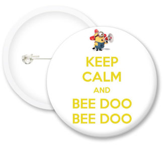 Keep Calm and Bee Doo Button Badges