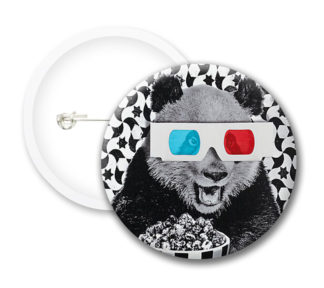 Panda With D Glasses Button Badges
