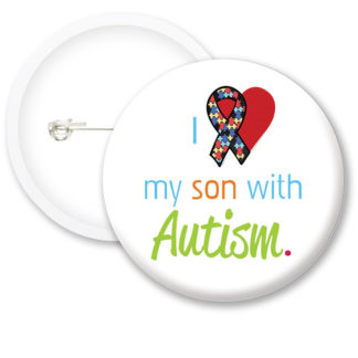 Autism Awarness I Love Button Badges