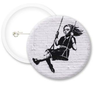 Banksy Swinging Girl Button Badges