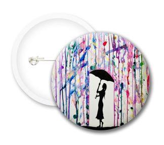 Banksy Girl With Umbrella Button Badges