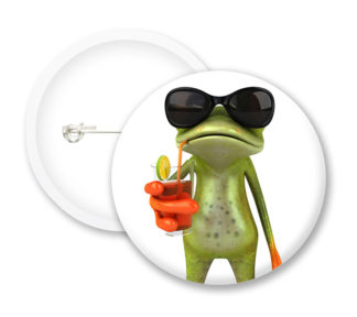 Frog with Drink Button Badges