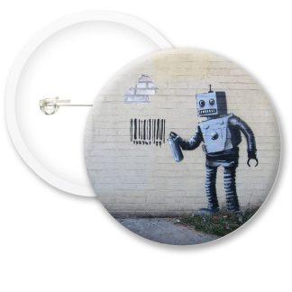 Banksy Robot Button Badges