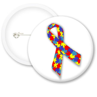 Autism Awarness Ribbon Button Badges