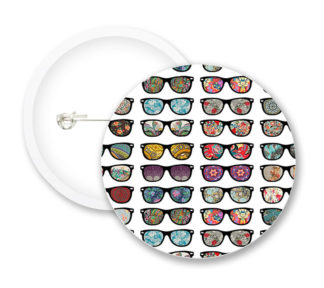 Glasses Retro Style Button Badges