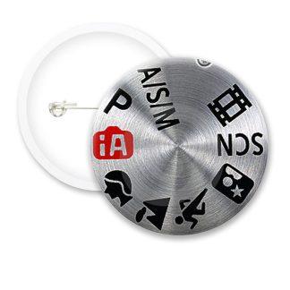 Grey Camera Dial Button Badges