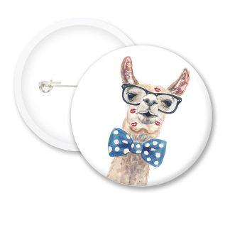 Llama Kiss Funny Button Badges