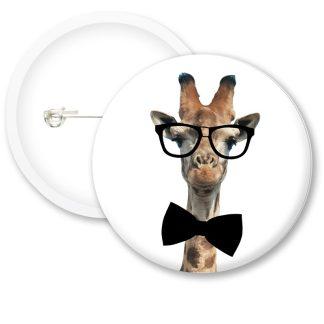 Nerd Giraffe Button Badges