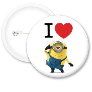 I Love Minions Button Badge