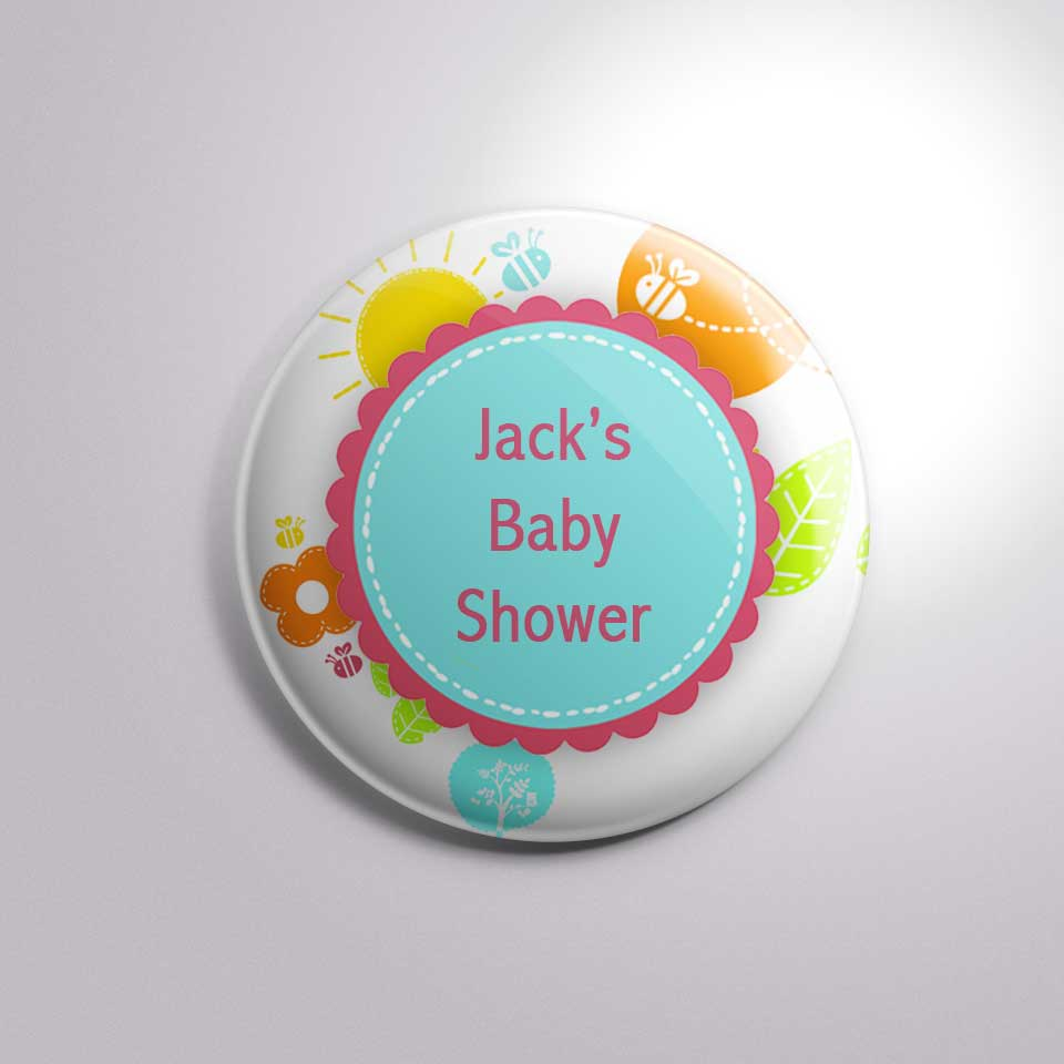 custom text baby shower party button badge bs0023