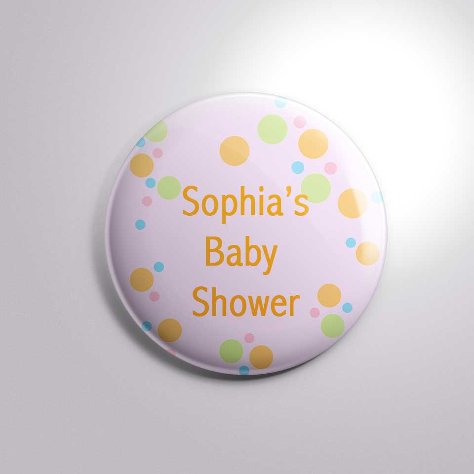 custom text baby shower party button badge bs0024
