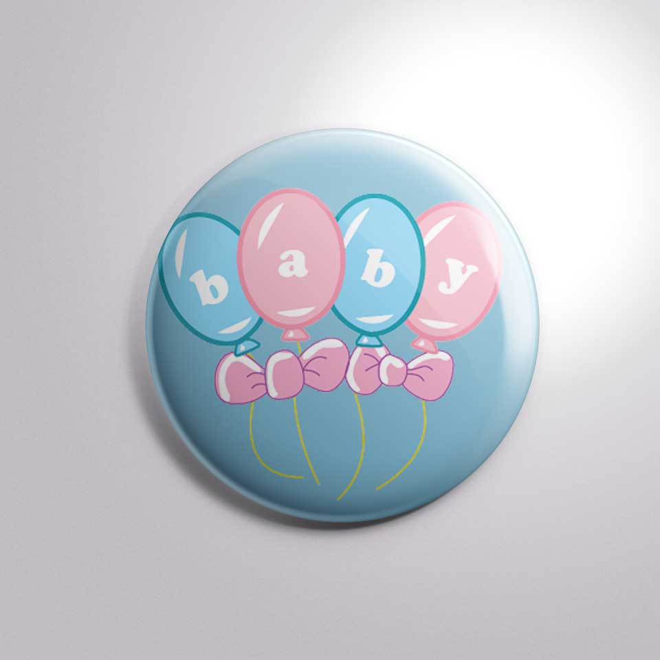 baby shower balloon printed button badge bs009